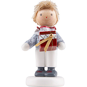 Small Figures & Ornaments Flade Flax Haired Children Flax Haired Children Little Boy with Present Box - Edition Flade & Friends - 4,5 cm / 1.8 inch