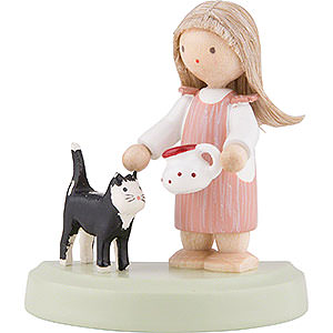 Small Figures & Ornaments Flade Flax Haired Children Flax Haired Children Little Girl with Black Cat - 5 cm / 2 inch