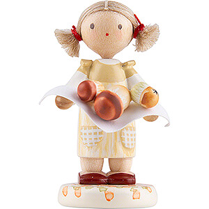 Small Figures & Ornaments Flade Flax Haired Children Flax Haired Children Little Girl with Ceps - Edition Flade & Friends - 4,5 cm / 1.8 inch