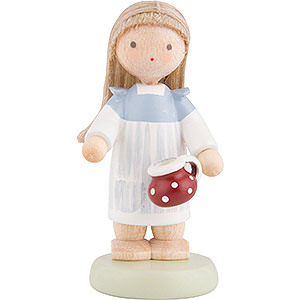 Small Figures & Ornaments Flade Flax Haired Children Flax Haired Children Little Girl with Little Pot - 5 cm / 2 inch