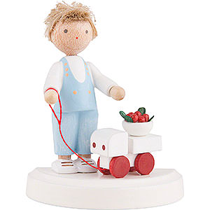 Small Figures & Ornaments Flade Flax Haired Children Flax Haired Children Small Boy with Toy Car and Cherries - 5 cm / 2 inch