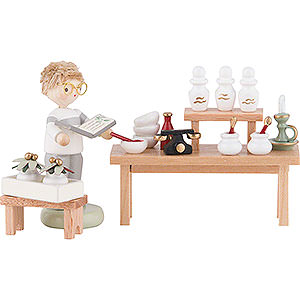 Small Figures & Ornaments Flade Flax Haired Children Flax Haired Herbal Pharmacy with Boy - 8 cm / 3.1 inch