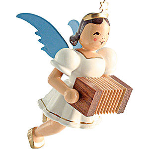 Tree ornaments Angel Ornaments Floating Angels Floating Angel Colored, Harmonica - 6,6 cm / 2.6 inch