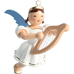 Angels Angel Ornaments Floating Angels Floating Angel Colored, Lyre - 6,6 cm / 2.6 inch
