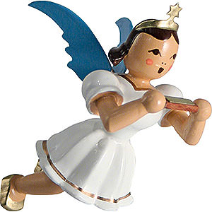 Angels Angel Ornaments Floating Angels Floating Angel Colored, Mouth Organ - 6,6 cm / 2.6 inch