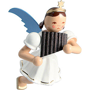 Angels Angel Ornaments Floating Angels Floating Angel Colored, Pan Pipe - 6,6 cm / 2.6 inch