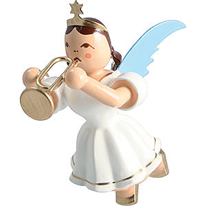 Angels Angel Ornaments Floating Angels Floating Angel Colored, Trumpet - 6,6 cm / 2.6 inch