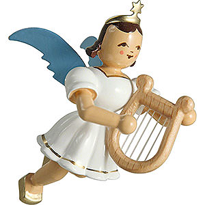 Tree ornaments Angel Ornaments Floating Angels Floating Angel Colored, with Lyre - 6,6 cm / 2.6 inch