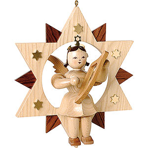 Floating Angel Natural with Lyre in Star - 28 cm / 11 inch