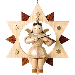 Floating Angel Natural with Violin in Star - 28 cm / 11 inch