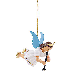 Tree ornaments Angel Ornaments Floating Angels Floating Angel with Clarinet, Colored - 6,6 cm / 2.6 inch