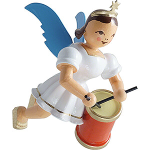 Tree ornaments Angel Ornaments Floating Angels Floating Angel with Long Drum - Colored - 6,6 cm / 2.6 inch