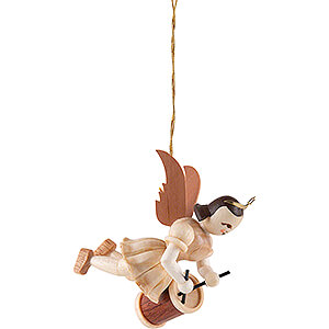 Tree ornaments Angel Ornaments Floating Angels Floating Angel with Long Drum - Natural - 6,6 cm / 2.6 inch