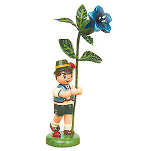 Small Figures & Ornaments Hubrig Flower Kids Flower Child Boy with Gentian - 11 cm / 4,3 inch