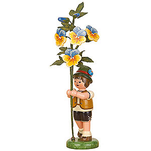 Small Figures & Ornaments Hubrig Flower Kids Flower Child Boy with Horned Violet - 17 cm / 7 inch