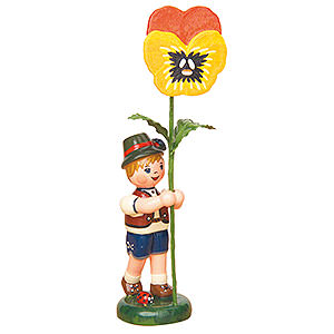 Small Figures & Ornaments Hubrig Flower Kids Flower Child Boy with Pansy - 11 cm / 4,3 inch