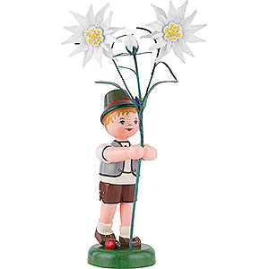 Small Figures & Ornaments Hubrig Flower Kids Flower Child Boy with Precious White Flowers - 24 cm / 9,5 inch