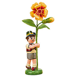 Small Figures & Ornaments Hubrig Flower Kids Flower Child Boy with Tagetes - 11 cm / 4,3 inch