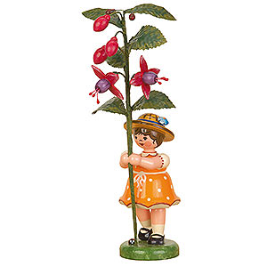 Small Figures & Ornaments Hubrig Flower Kids Flower Child Girl with Fuchsia - 17 cm / 7 inch