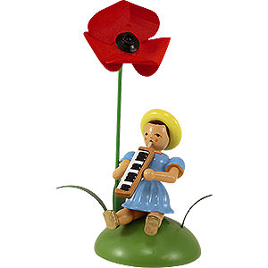 Small Figures & Ornaments Flower children Flower Child with Field Poppy and Melodica Sitting - 12 cm / 4.7 inch