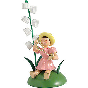 Small Figures & Ornaments Flower children Flower Child with Lily of the Valley and French Horn Sitting - 12 cm / 4.7 inch