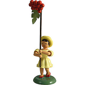 Small Figures & Ornaments Flower children Flower Child with Rowan Berry, Colored - 12 cm / 4.7 inch