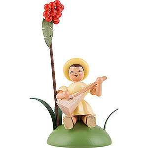 Small Figures & Ornaments Flower children Flower Child with Rowan Berry and Balalaika, Sitting, Colored - 12 cm / 4.7 inch