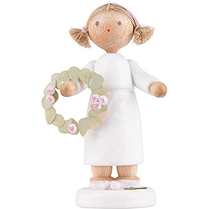 Small Figures & Ornaments Flade Flax Haired Children Flower Fairy Girl with Flower Wreath - 5 cm / 2 inch