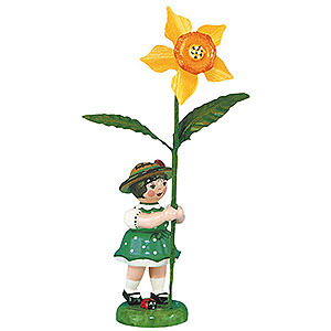 Small Figures & Ornaments Hubrig Flower Kids Flower Girl with Daffodil - 11 cm / 4,3 inch