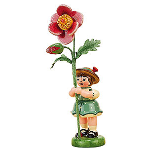 Small Figures & Ornaments Hubrig Flower Kids Flower Girl with Dog Rose - 11 cm / 4,3 inch