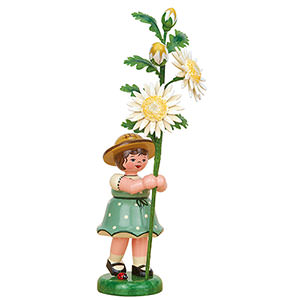 Small Figures & Ornaments Hubrig Flower Kids Flower Girl with Edelweiss Daisy - 17 cm / 6.7 inch