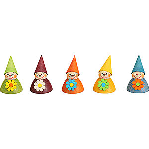 Small Figures & Ornaments Teeter figurines Flower-Teeter, Set of Five, 4 cm / 1.6 inch