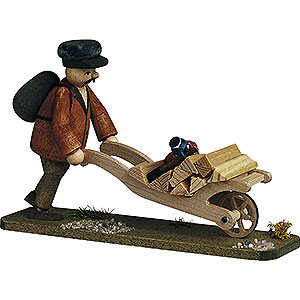 Small Figures & Ornaments Günter Reichel Born Country Forester with Handcart - 7 cm / 2.8 inch