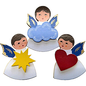 Angels Other Angels Fridge Magnets - 3 pcs. - Angels with Heart, Star, Cloud - Blue Wings - 7,5 cm / 3 inch