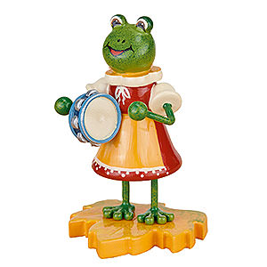Small Figures & Ornaments Hubrig Beetles Frog Girl with Tambourine - 8 cm / 3 inch