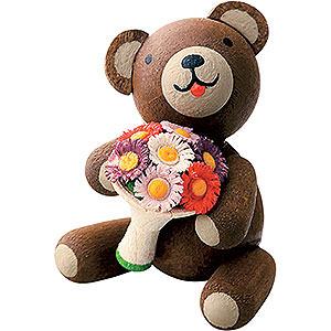 Geschenkideen Muttertag Glücksbärchen mit Blumenstrauß - 2,7 cm