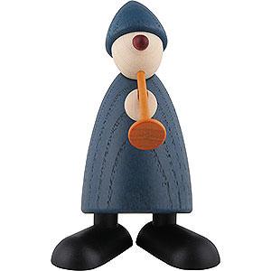 Kleine Figuren & Miniaturen Björn Köhler Gratulanten Gratulant Karlchen mit Flöte, blau - 9 cm