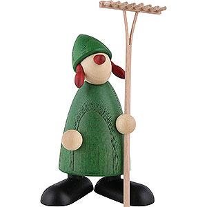 Geschenkideen Zum Einzug Gratulantin Hanna mit Rechen, grün - 9 cm