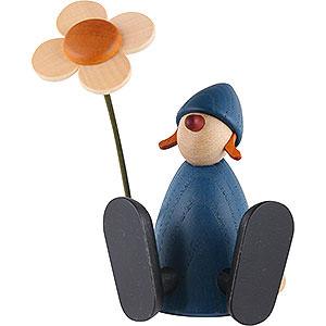 Geschenkideen Geburtstag Gratulantin Lotta mit Blume sitzend, blau - 9 cm