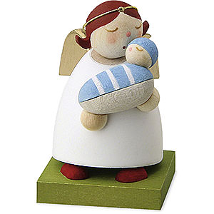 Gift Ideas Birth and Christening Guardian Angel with Baby - Boy - 3,5 cm / 1.3 inch