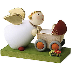 Gift Ideas Birth and Christening Guardian Angel with Doll's Pram - 3,5 cm / 1.3 inch