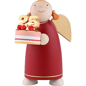 Angels Reichel Guardian Angels medium Guardian Angel with Fancy Cake, Red - 8 cm / 3.1 inch