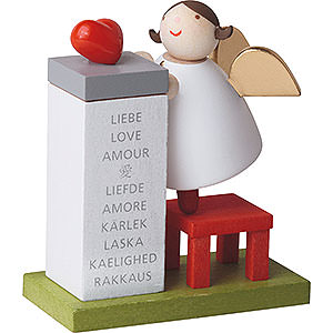 Angels Reichel Guardian Angels Guardian Angel with Heart on Podium - 3,5 cm / 2inch / 1.4 inch