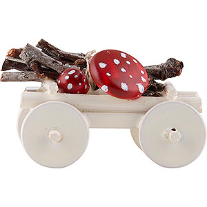 Small Figures & Ornaments Flade Flax Haired Children Hand Cart with Toadstools - Edition Flade & Friends - 2 cm / 0.8 inch