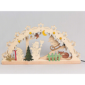 Candle Arches Fret Saw Work Handicraft Set - Candle Arch - Snowman - 55x27 cm / 21.7x10.6 inch