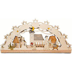 Candle Arches Fret Saw Work Handicraft Set - Light Arch Village - LED - 55x27 cm / 21.7x10.6 inch