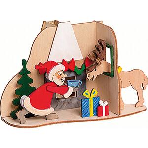Smokers Santa Claus Handicraft Set - Smoking Hut - Santa with Moose - 11 cm / 4.3 inch