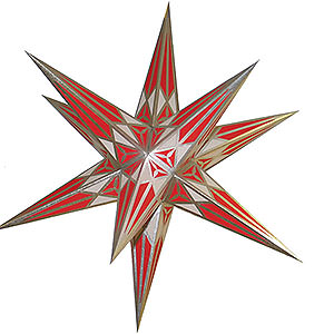 Advent Stars and Moravian Christmas Stars Hartensteiner Christmas Stars Hartenstein Christmas Star - White-Red with Silver - 68 cm / 27 inch