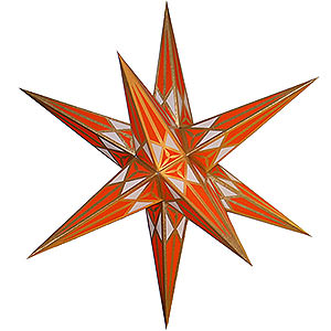 Advent Stars and Moravian Christmas Stars Hartensteiner Christmas Stars Hartenstein Christmas Star for Inside Use - White-Orange with Gold - 68 cm / 27 inch