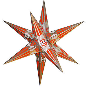Advent Stars and Moravian Christmas Stars Hartensteiner Christmas Stars Hartenstein Christmas Star for Inside Use - White-Orange with Silver - 68 cm / 27 inch